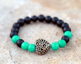 gift for her Girlfriend Gift  boho Jewelry boho Bracelet  love Bracelet love Jewelry jade Bracelet jade Jewelry heart Bracelet