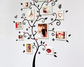Family Tree Wall Decal Wall Stocker-Butterfly and flower photo tree decals-vinyl family photo frame tree sticker-removable tree decal