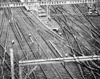 Railway Tracks Print, Train Print, Railroad Photography, Train Black and White, Rail Tracks, Rail Road Landscape, Train Gift, Forking Tracks