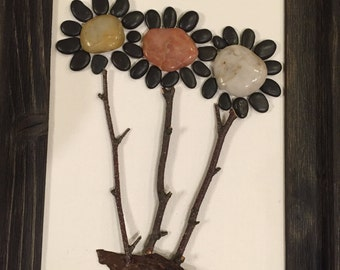 Pebble Art Mixed Media Collages- FLOWER