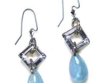 Aquamarine & Swarovski Crystal Earrings