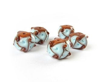 Lampwork Beads, Glass Lampwork Bead Set, Handmade Glass Beads, Multicolor Beads, Blue, Brown