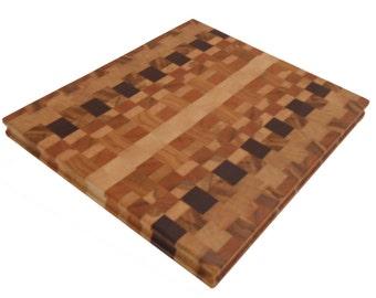 End grain cutting board of Walnut, Cherry, and Ash