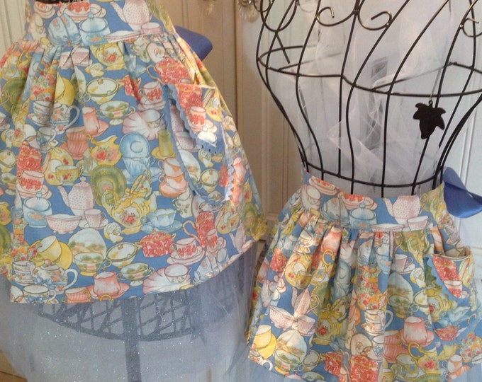 Featured listing image: Mother & Daughter Aprons tutu for tea  - Blue Tea Party