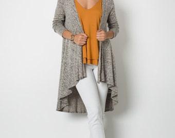 J4000B Long Sleeve 2-Tone High Low Long Open Cardigan Sweater Jacket (Made in USA)