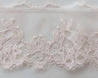 Pink lace trimming, powder pink Chantilly Lace Trim, lingerie trim,
