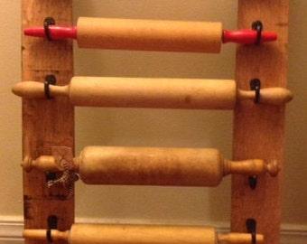 Bourbon Barrel Stave Rolling Pin Display Rack