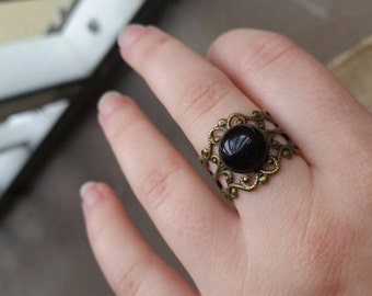 Gemstone Adjustable Filigree Ring. Amethyst/tigers eye/sodalite/obsidian/howlite