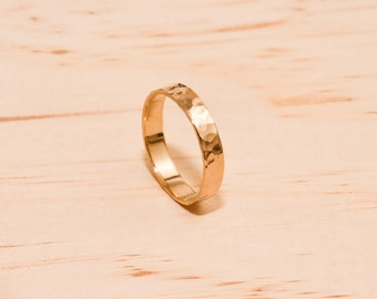 Solid Yellow Gold Hammered Ring