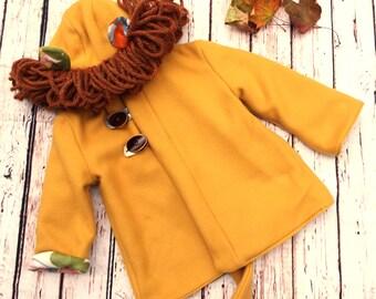 Lion Coat - Baby Lion Coat - Mustard Baby Coat - Baby Animal Coat - Kids Animal Coat - Baby Winter Coat