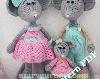 Crochet Pattern, pattern, tutorial, Amigurumi family mouse