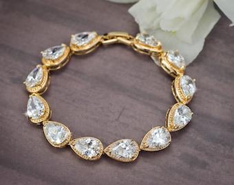 gold cubic zirconia bracelet,gold  bridal bracelet, wedding bracelet, cz bracelet, crystal bracelet, cz wedding set, gold silver bracelet