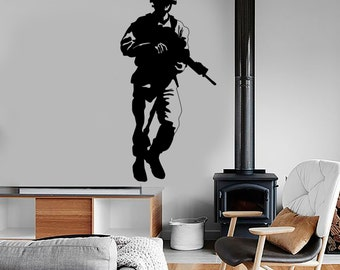 Wall Vinyl Soldier Rifle  Military War Army Cool Decal Mural Art 1621dz