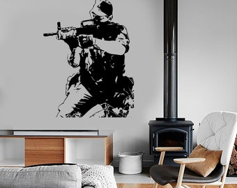 Wall Vinyl Soldier Army Forces War Guaranteed Quality Decal Mural Art 1638dz