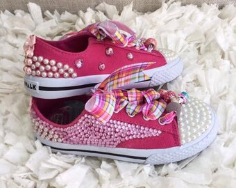 Girls' Hot Pink Bubblegum Princess Sneakers | Canvas Shoe Laces | Size Youth 10.5 - 6 | Pearls, Rhinestones, Ribbons, Beads |