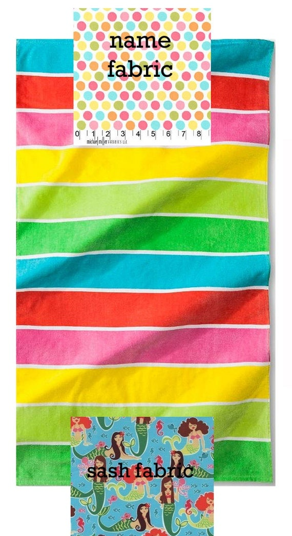 Personalized Name Stripe, Dot and Mermaid Beach Towel with Fabric Bow, Summer, Birthday Gift