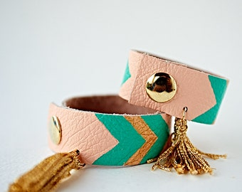 Mother Daughter Bracelets, Matching Bracelets, Mommy and Me Jewelry, Leather Tassel Bracelets, Mothers Day Gift, Gift for Mom, Chevron Cuff