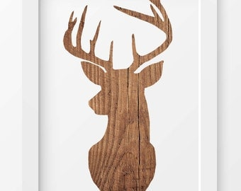 Rustic Wood Deer Print, Deer wall prints, Deer gift print, Stag print, Deer Antlers, Animal print, Woodland decor, Wood art prints, Wall art