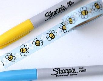 Kawaii Bees Washi Tape - 1 Roll:  Yellow Bumble Bees on Blue - Insect Washi Tape