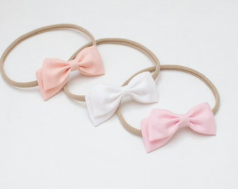 Hand Tied Girl Right Side Bow Soft Elastic Headband or Clip Cotton