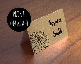 Rustic wedding place card printable Name cards template Country place card Kraft place card Instant download seating card Garden wedding K80