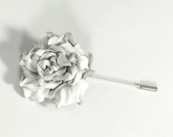 White rose lapel pin white wedding boutonniere Mens lapel flower white rose boutonniere leather jewelry mens gift husband for father gift
