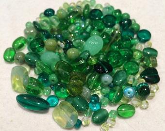 Czech Glass Bead Mix, Green, 00001, 50 Grams