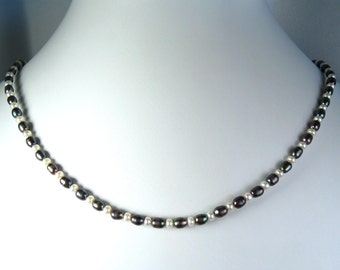 """Blue and White Freshwater Pearl Necklace Gold 18"""""""