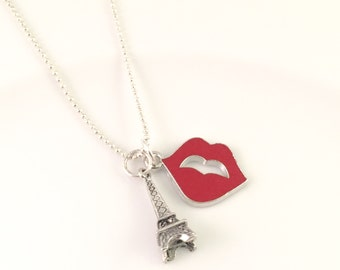 Paris Necklace, charm necklace, Red Lips necklace, Paris jewelry, Eiffel tower necklace, French Kiss Necklace, gift for her