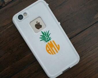 BOGO Pineapple Monogram Decal- Pineapple monogram sticker- Monogram Decal- Waterproof Monogram- Dishwasher safe monogram decal