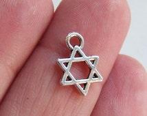 20 Star of david charms, hexagram charms, six pointed star, 6 pointed star, shield of david pendant, jewish hebrew charms, magen david, F444