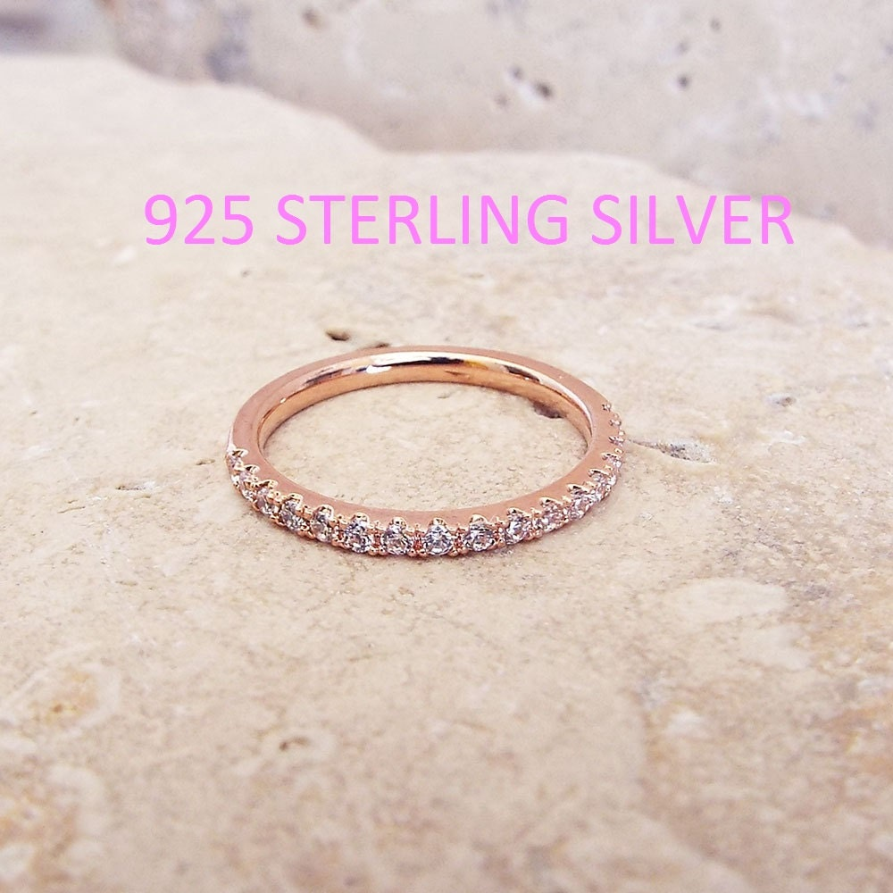 Thin Sterling Silver Rose Gold Plated Half Eternity Ring CZ Diamond Band Stacking Eternity Ring 1/2 Eternity Micro Pave Thin Wedding Band