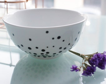 Minimalist White Bowl With Black Dots