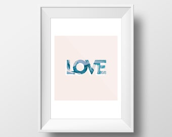 Romantic Print, Love Printable, Love Poster, Pink Art Print, Marble texture, Minimalist Poster, Typography Print