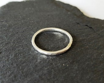 Sterling Silver Hammered Stacking Ring, Skinny Stacking Ring, Silver Hammered Ring