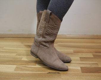 Vintage Women's Brown Boots Cowboys Eur37 Uk4 USA6 1/2