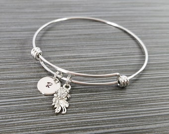 Goldfish Bangle - Goldfish Charm Bracelet - Expandable Bangle - Charm Bangle - Koi Fish Bracelet- Initial Bracelet - Personalized Bracelet