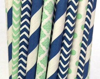 2.85 US Shipping -Mint green and navy blue straws - Vintage mint and navy blue straws - Cake Pop Sticks- Drinking Straws