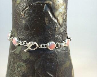 """Sterling Silver and pink agate links toggle bracelet 925 8"""" 17 g vintage"""
