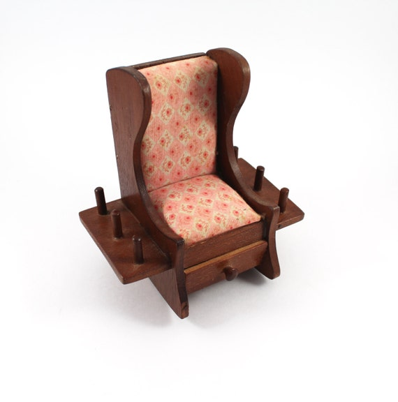 Miniature Red Rocking Chair ~ Vintage sewing rocking chair miniature wooden with pink