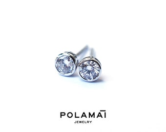 Diamond Earrings 18k Solid Gold 0.40 0.20 ctw . Stud Solitaire Earrings . Round Bezel Set . White Gold . Polamai Jewelry