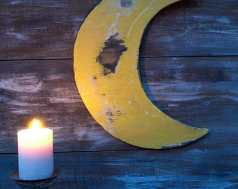Moon sign, Crescent Moon Sign, Wooden Sign, Shabby Chic decor, Nursery decor ,Bed Room decor, Living Room decor, Baby's Room decor, Wall Art