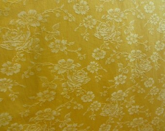 Vintage coupon Matress ticking fabric yellow background ref 11894 rose decor