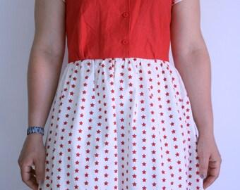 Dress 50's, 50's Dress, Dress stars, Red and white dress,
