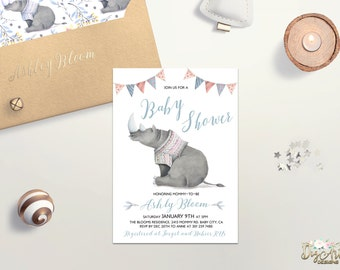Boy Baby Shower Invitation Printable Rhino Baby Shower Invite Blue Grey Baby Shower Animal Baby Shower Printable Baby Shower Digital File