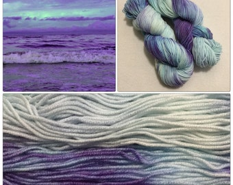 Hand Dyed Yarn, Hand Painted Yarn, Worsted, Superwash, Merino, Wool Blend, Tonal, Variegated, Color: Ocean View