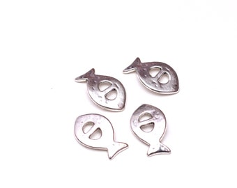 4 pcs Silver Plated Leather Clasp, Fish Button Clasp for Flat Leather Cord, Jewelry Findings