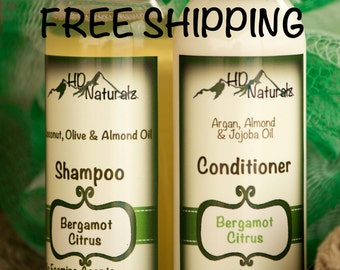 Free Shipping, Bergamot Shampoo, Citrus Almond Oil Hair Conditioner, Argan Oil Conditioner, Liquid Conditioner, Natural Hair Cleanser