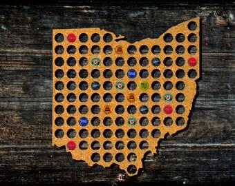 Ohio Beer Cap Map from Cork Tree Bottle Cap Art Beer Cap Holder State Map Beer State Map Beer Lovers Gift for Beer Aficionado Gift for Him