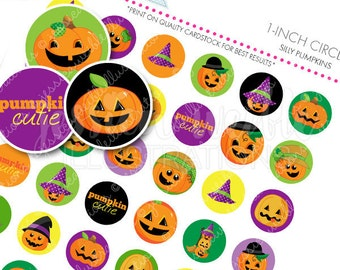 Silly Pumpkins Printable 1 Inch Circles, Bottle Cap Circles, Printable Pumpkin Circles, Printable Candy Circles, Halloween Party, Confetti